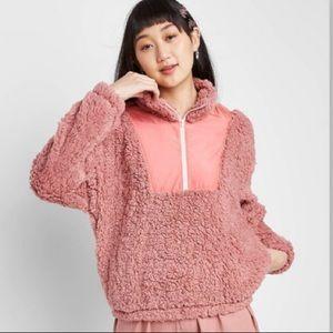 Pink Rose Super Soft Sherpa Pullover Jacket Large